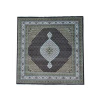 Square Tabriz Mahi Wool and Silk Hand Knotted Oriental Rug