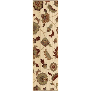 Carolina Weavers Ornate Expressions Collection Wild Floral Vines Ivory Runner (2'3 x 8')