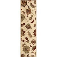 Carolina Weavers Ornate Expressions Collection Wild Floral Vines Ivory Runner Rug - 2'3 x 8'