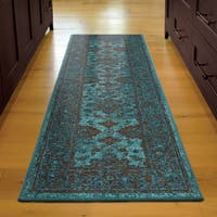 Carolina Weavers Brighton Collection Hermitage Blue/Brown Bohemian Oriental Runner Rug - 2'3 x 8'