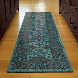 Carolina Weavers Brighton Collection Hermitage Blue/Brown Bohemian Oriental Runner (2'3 x 8')