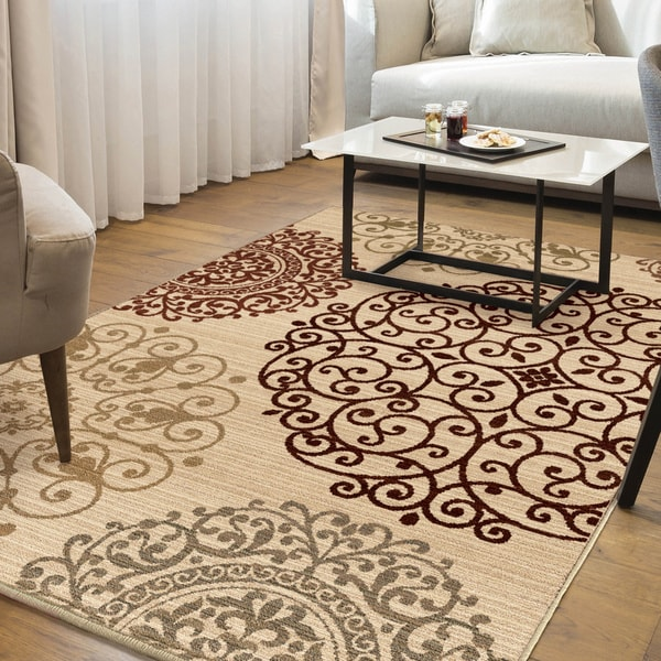 Carolina Weavers Ornate Expressions Collection Shifting Scrolls Ivory Area Rug 9 X 13 Free