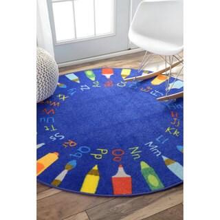 NuLOOM Contemporary Alphabet Blue Kids Rug (5u0027 Round)