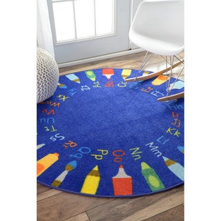 nuLOOM Contemporary Alphabet Blue Kids Rug (8' Round) - 8'