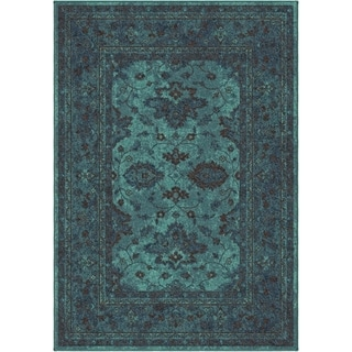 Carolina Weavers Bright Color Modern Traditional Hermitage Blue Area Rug (6'7 x 9'8)