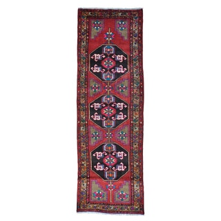 Wide Runner Persian Hamadan Pure Wool Handmade Oriental Rug (4' x 12')