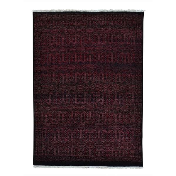 Grass Design Pure Wool Tone on Tone Gabbeh Handmade Rug (4'10 x 6'10)