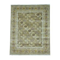 Hand Knotted Pure Wool Khotan Design Oriental Rug - 7'10 x 10'