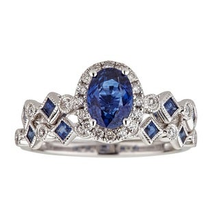Anika and August 14k White Gold Ceylon Blue Sapphire and 1/4ct TDW Diamond Bridal Ring (G-H, I1-I2)