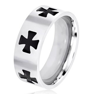 Men's Brushed Stainless Steel Engraved Iron Cross Flat Ring - 8mm Wide
