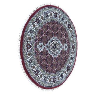Round Tabriz Mahi Hand Knotted Oriental Wool and Silk Rug (3' x 3')