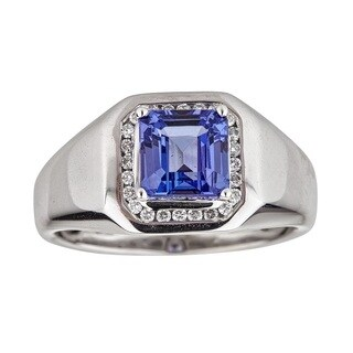 Anika and August 14k White Gold Emerald-cut Tanzanite and 1/4ct TDW Diamond Men's Ring (G-H, I1-I2)
