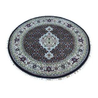 Round Persian Tabriz Mahi Handmade Wool and Silk Rug (3' x 3')