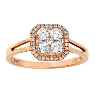Beverly Hills Charm 14K Rose Gold 1/2ct TDW Diamond Cluster Ring