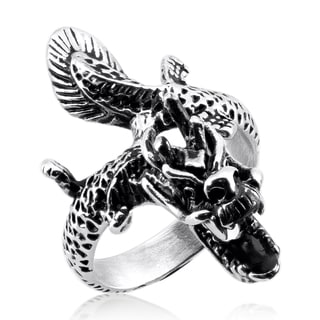 Men's Stainless Steel Flying Dragon Cast Ring - 42mm Wide