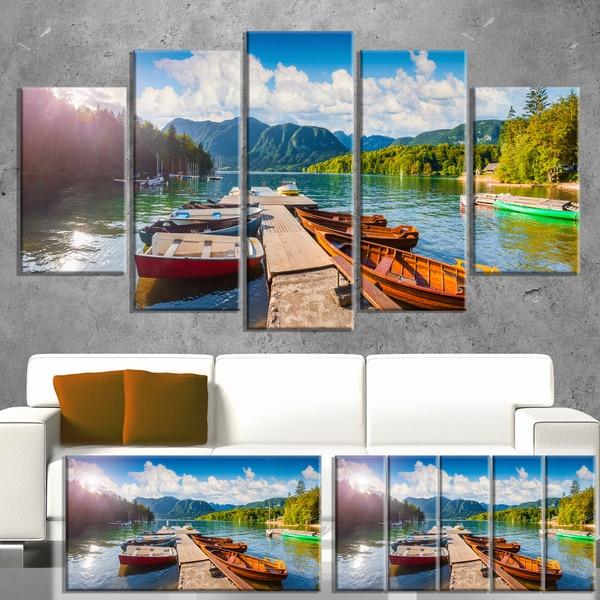 Designart 'Bohinj Lake Sunny Morning' Landscape Photo Canvas Print 32x16