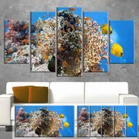 Designart 'Coral Scene Panorama' Photo Canvas Art Print 32x16