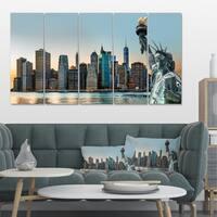 Designart 'New York City Skyline Panorama' Photo Canvas Print 32x16 - Blue