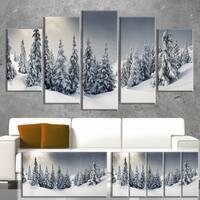 Designart 'Winter Landscape' Photo Canvas Wall Art Print - Grey