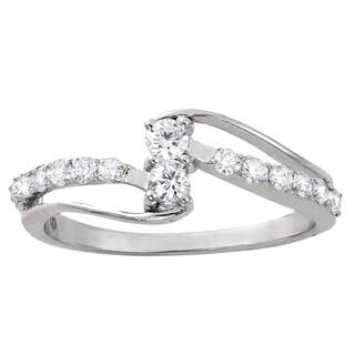 14k White Gold 2/5ct TDW Diamond 2-Stone Anniversary Ring