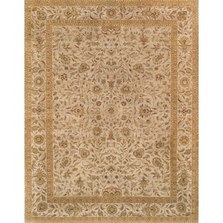 Pasargad Majestic Tabriz Hand-knotted Ivory Wool Rug (9' x 12')