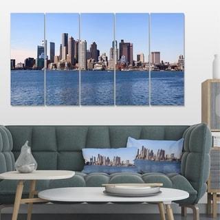 Designart 'Boston Skyline Panorama' Cityscape Photo Canvas Art Print - Blue