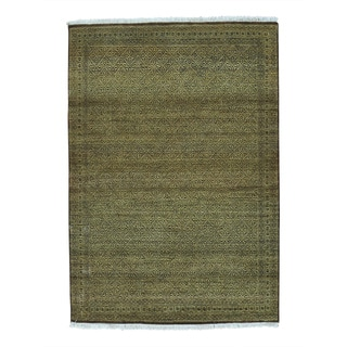Gabbeh Tone on Tone Grass Design Hand Knotted Oriental Rug (4' x 6')