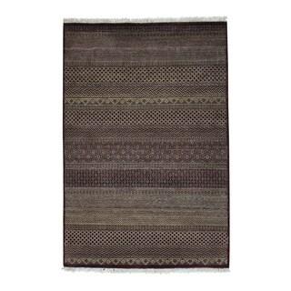 Grass Design Pure Wool Gabbeh Handmade Tone on Tone Rug (4' x 5'10)