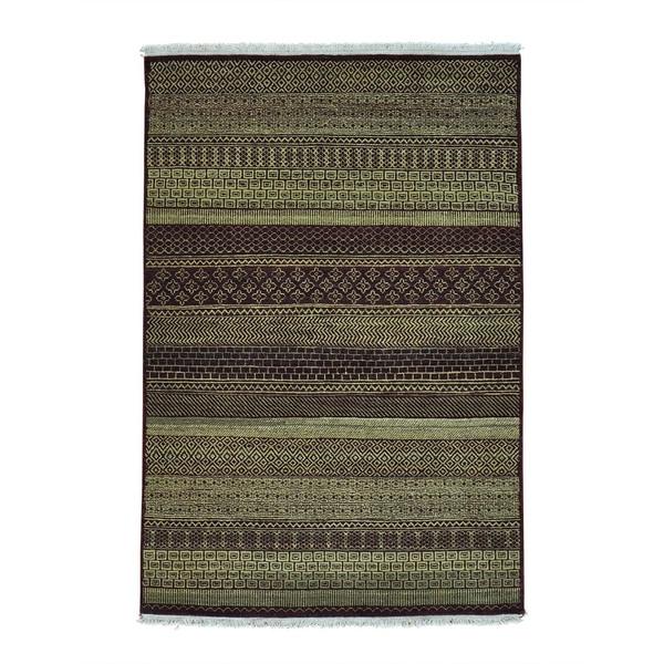 Pure Wool Handmade Tone on Tone Grass Design Gabbeh Rug (4'1 x 6')