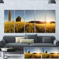 Designart 'Sunset Over Wheat Field in Slovakia' Photography Canvas Print - GOLD
