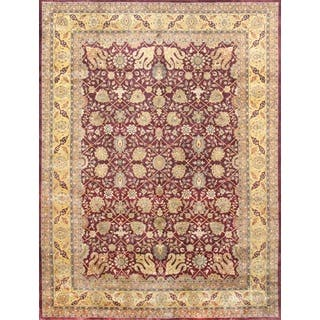 Pasargad Majestic Tabriz Hand-knotted Burgundy and Gold Wool Rug (9' x 12')|https://ak1.ostkcdn.com/images/products/11687626/P18613535.jpg?impolicy=medium