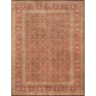 Pasargad Majestic Tabriz Hand-knotted Brown and Rust Wool Rug (9' x 12')