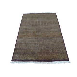 Hand Knotted Tone on Tone Grass Design Gabbeh Oriental Rug (3' x 4'9)