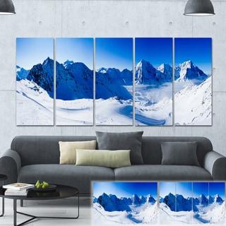 Designart 'Blue Winter Mountains' Photography Canvas Print