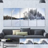 Designart 'Winter Field Landscape' Photo Canvas Art Print - White