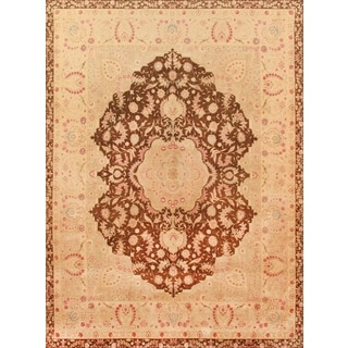 Pasargad Tabriz Hand-knotted Brown and Peach Wool Rug (9' x 12')