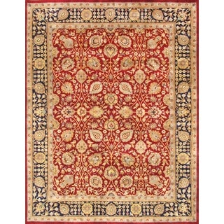 Pasargad Tabriz Hand-knotted Red and Navy Wool Rug (9' x 12')