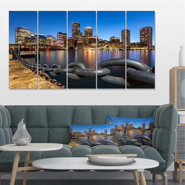 Shop Designart 'Boston Skyline At Dusk' Cityscape Photo