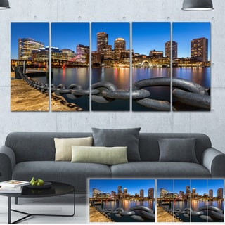 Designart 'Boston Skyline at Dusk' Cityscape Photo Large Canvas Print