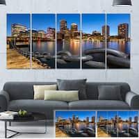 Designart 'Boston Skyline at Dusk' Cityscape Photo Large Canvas Print - Multi-color
