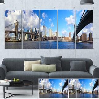 Designart 'Bright Manhattan Day Panorama' Cityscape Photo Large Canvas Print