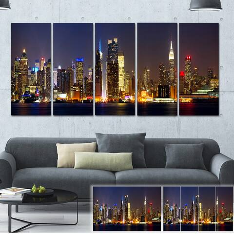 Designart 'New York Skyline at Night' Cityscape Photo Large Canvas Print - Brown