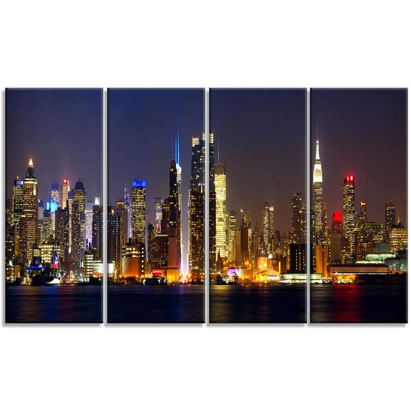 Designart New York Skyline At Night Cityscape Photo Large Canvas Print Brown Overstock 11687675