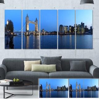 Designart 'London Tower Bridge in Blue' Cityscape Photo Large Canvas Print