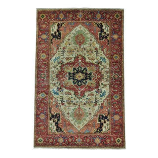 Pure Wool Antiqued Heriz Revival Hand Knotted Oriental Rug (5'10 x 9')