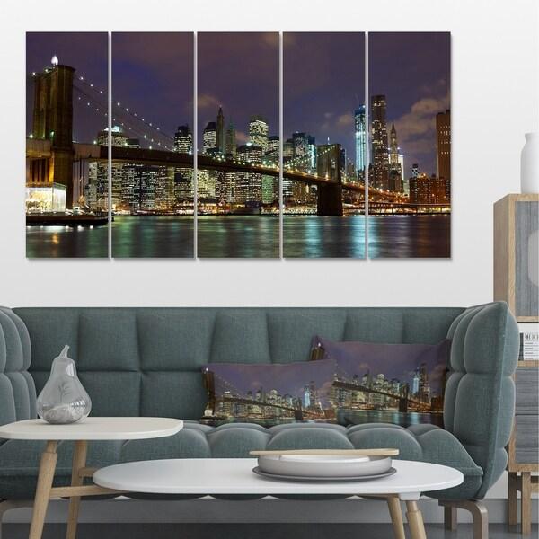 Designart 'Brooklyn Bridge Panoramic View' Cityscape Photo Large Canvas Print - Brown