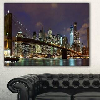 Designart 'Brooklyn Bridge Panoramic View' Cityscape Photo Large Canvas Print