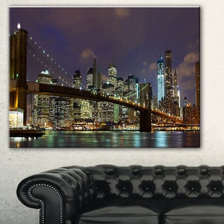 Designart 'Brooklyn Bridge Panoramic View' Cityscape Photo Large Canvas Print - Brown