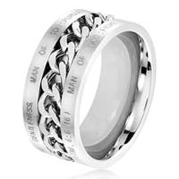 Men's Dual Finish Stainless Steel Spinner Chain Bible Verse (1 Tim,6:6-16) Ring - 10mm Wide