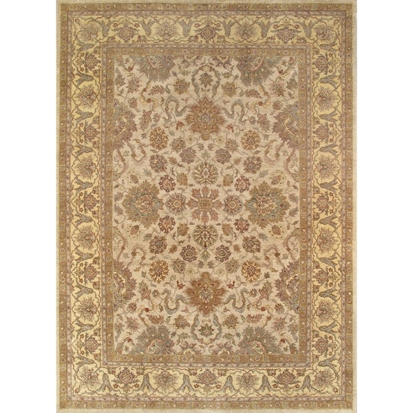 Pasargad Agra Hand-knotted Ivory and Gold Wool Rug (10' x 14') - 10' x 14'